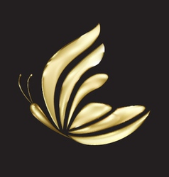 Gold butterfly logo vector image vector image