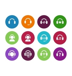 Headset circle icons on white background vector image
