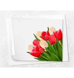 Holiday background with bouquet of red flowers vector image vector image