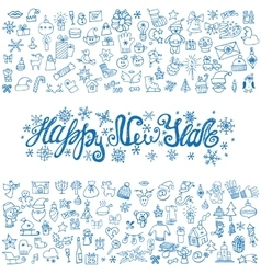 New year greeting cardLinear IconstitleBlue vector image vector image