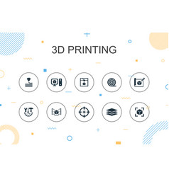 3d printing trendy infographic template thin line vector