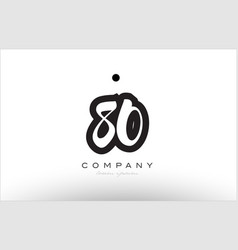 80 number logo icon template design vector