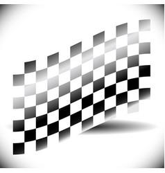 abstract checkered flag on white with shadow vector image
