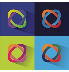 Abstract flat icos set isolated on color vector image
