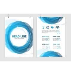 abstract geometric blue round brochure vector image