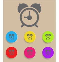 alarm clock icon with color variations vector image
