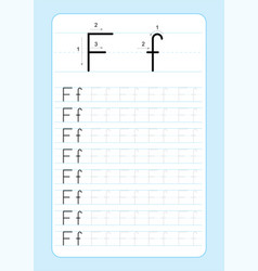alphabet letters tracing worksheet vector image
