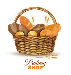 Bakery Basket With Bread Realistic Image vector