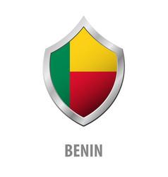 benin flag on metal shiny shield vector image