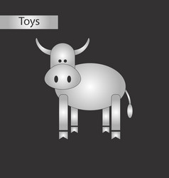 black and white style toy cow vector image