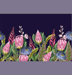 Border with proteas flowers trendy floral vector