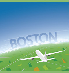 Boston flight destination vector