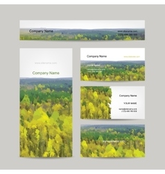 Business cards design autumn forest background vector