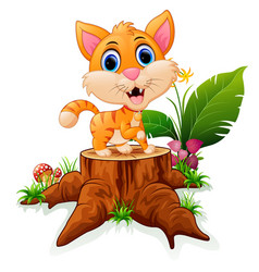 Cartoon funny baby tiger posing on tree stump vector