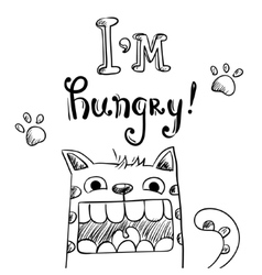 Cartoon of hungry cat with huge mouth vector image