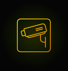 cctv linear yellow icon or symbol vector image