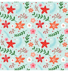 Christmas Floral Background - seamless pattern vector
