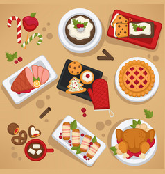 Christmas food on celebrating table feast on vector