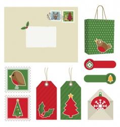 Christmas postage vector