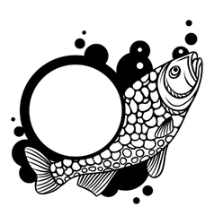 Circle frame with decorative fish Image for vector