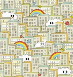 City with cute clouds vector image