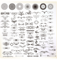 Collection of hand drawn flourishes vector