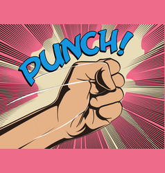 Comics fist fight punch vintage styled vector