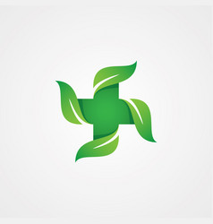 cross and leaf health care design template vector image