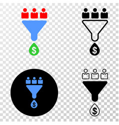 customers sales funnel eps icon with vector image