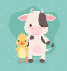Cute and little cow and duck characters vector