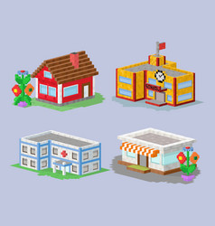 Cute colorful flat style house village pixel art vector