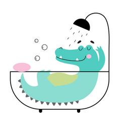 Cute crocodile taking bath funny alligator vector