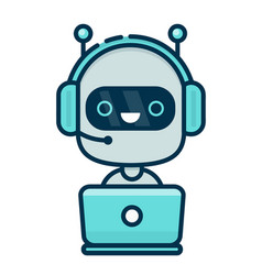 cute smiling chat bot working in headphones vector image