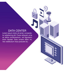 Data center poster with informaton vector