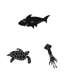 Design of sea and animal logo set of sea vector