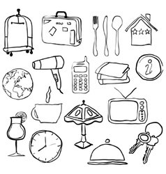 doodle hotel pictures vector image