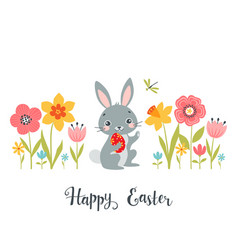 easter bunny among spring flowers vector image