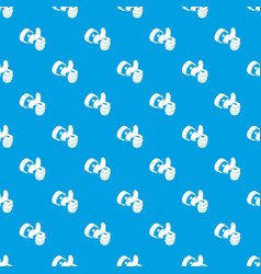 election thumb up pattern seamless blue vector image