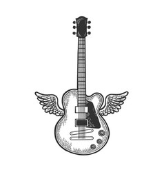Electric guitar with wings sketch engraving vector