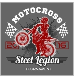 Extreme motocross emblem t-shirt design vector