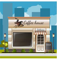 facade of a coffee shop in city vector image