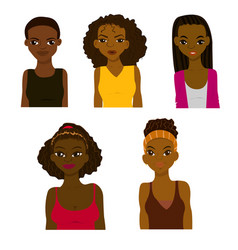 fashion and hairstyle of african women vector image