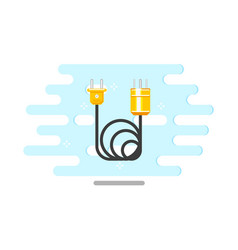 flat electric wire cable with plug icon vector image