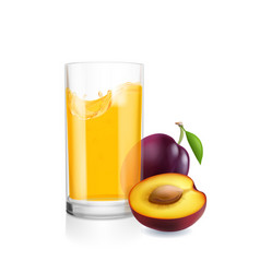 glass of juice and plums realistic isolated vector image