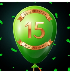 Green balloon with golden inscription fifteen vector