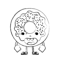 Grunge kawaii funny donut with arms and legs vector