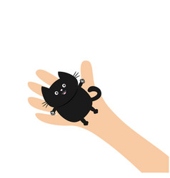 hand arm holding black cat adopt animal pet vector image