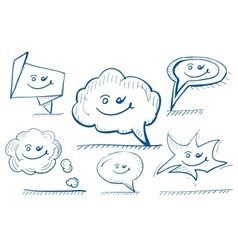 Hand drawn design elements speech bubbles vector image