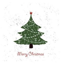 hand drawn vintage christmas tree vector image