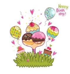 Happy Birthday card background ice cream vector